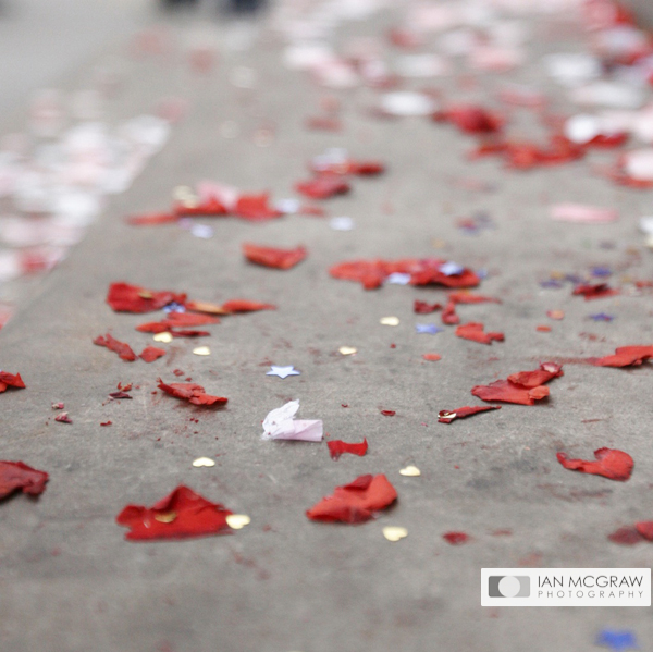 Confetti at Chelsea Town Hall - Ian McGraw LBIPP